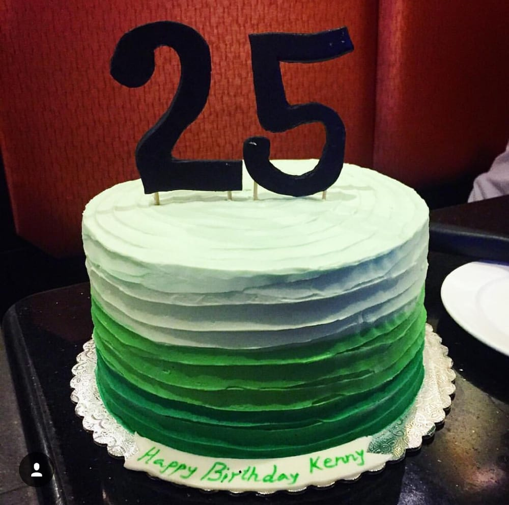 Green Birthday Cake For My Friends 25th Birthday Traditional
