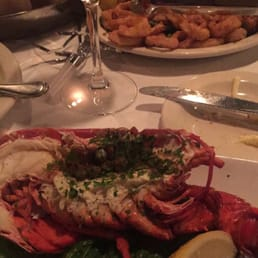 The River Palm Terrace - Edgewater, NJ, United States. Chilled half lobster and calamari with a wasabi sauce! Yummy!