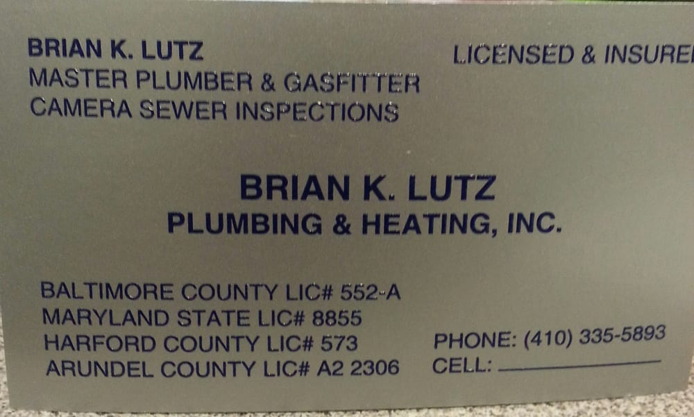 Lutz Brian K Plumbing And Heating 6904 Ebenezer Rd Middle River Md Phone Number Last Updated November 30 2018 Yelp