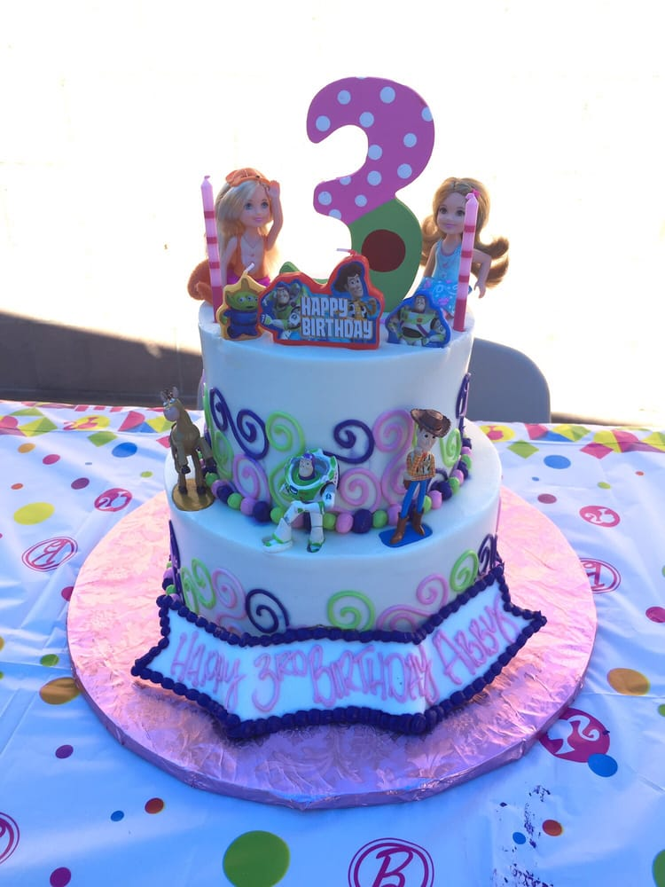 3rd Birthday Cake Barbie And Buzz Lightyear Themed We Added The
