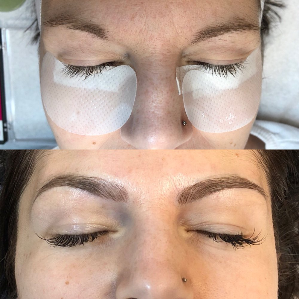 Microbladed Eyebrows And Mink Eyelash Extensions Before On Top