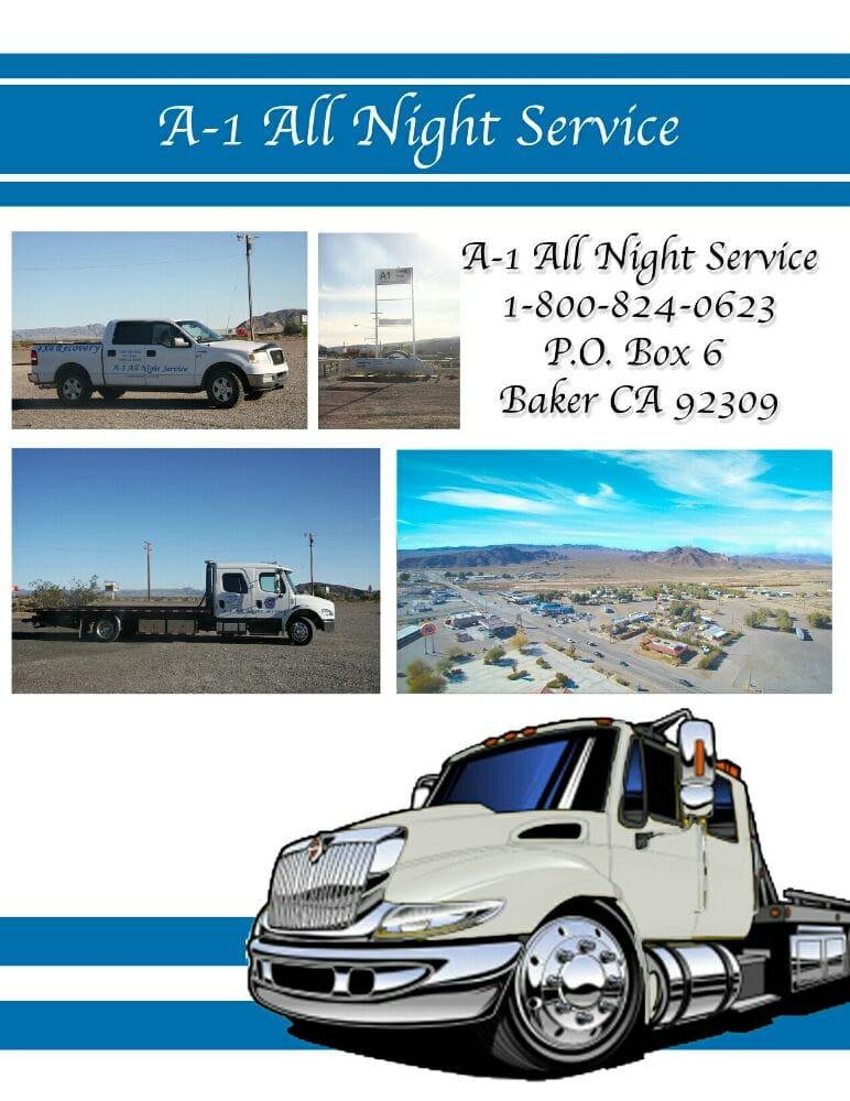 A-1 All Night Service: 72572 E Baker Blvd, Baker, CA