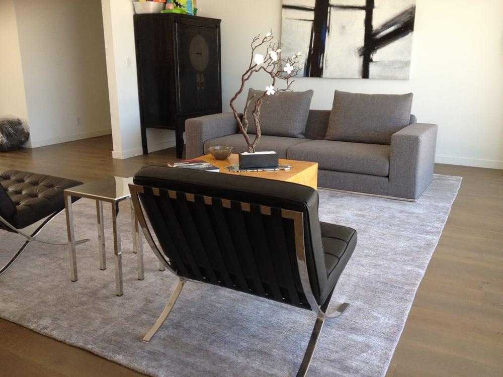 Silk bamboo rug in modern living room setting yelp - Modern carpets for living room ...