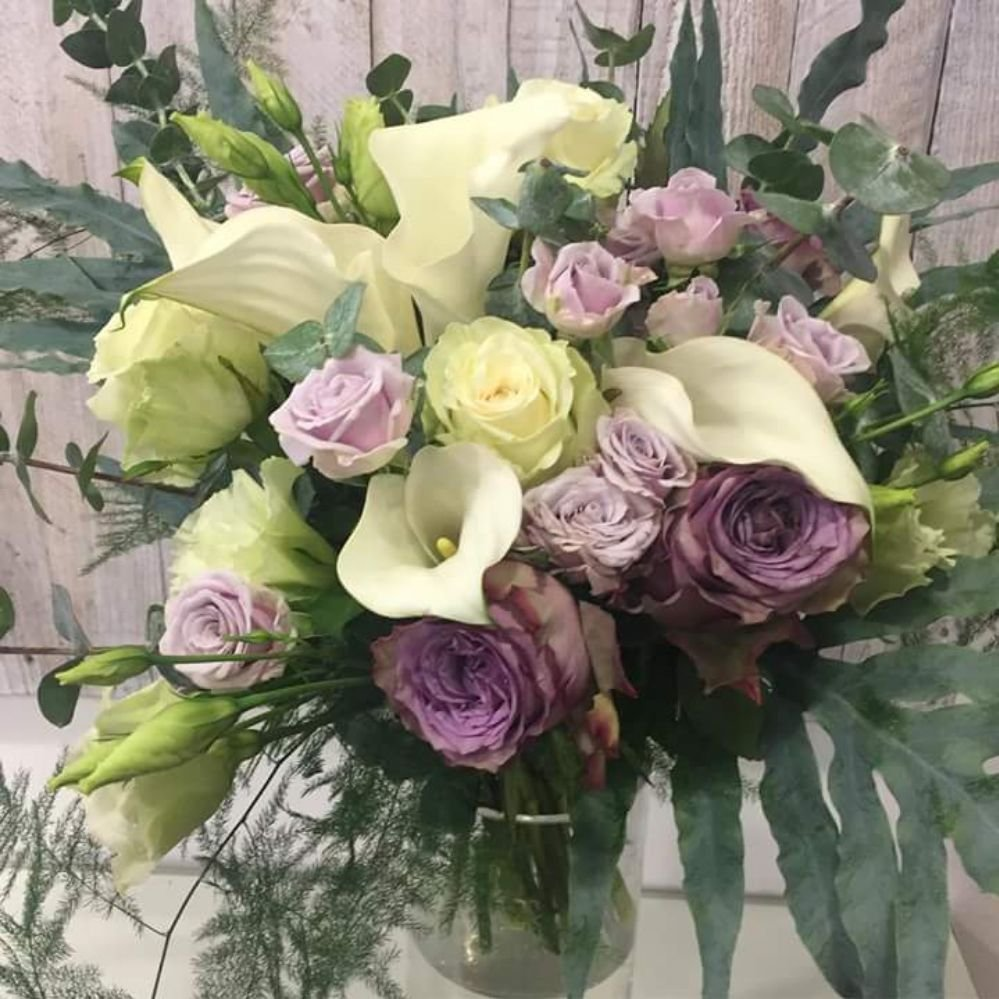 Hand Tied Flower Bouquet Featuring Calla Lilies Roses Lisianthus