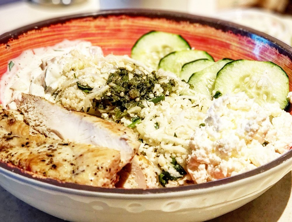 Cauliflower Rice Bowl With Grilled Chicken So Delicious