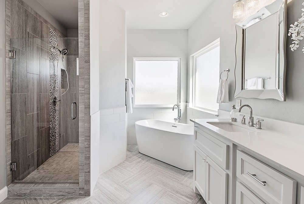 Bathroom Remodel: Chic standing shower with a frame-less glass door ...