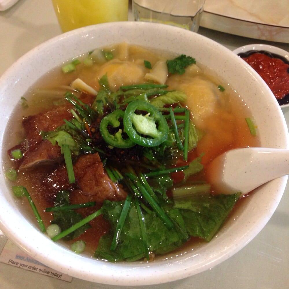Mi Vit Quay Xui Cao - roast duck and shrimp wonton egg noodle soup ...