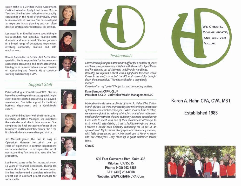 Karen A Hahn, CPA, CVA - Accountants - 500 E Calaveras Blvd ...