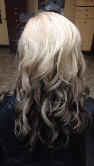 Platinum to brunette reverse ombre by Annie. - Yelp