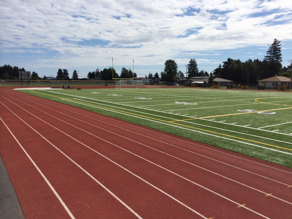 football field soccer field track with six lanes and baseball