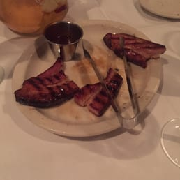 The River Palm Terrace - Edgewater, NJ, United States. Thick cut bacon!!!! Yummy! (Half eaten lol)
