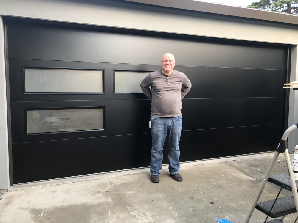 Our Customer Very Excited About His New Modern Tech Garage Door