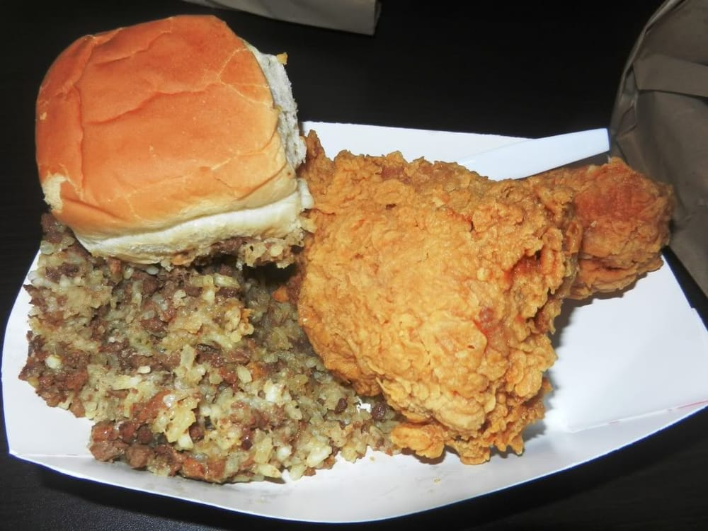 Photo of Mama's Fried Chicken - Opelousas, LA, United States. 2 piece w/ dirty rice!!! I love their dirty rice!