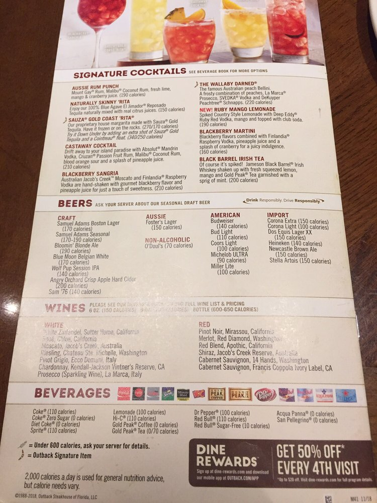 image regarding Outback Printable Menu called Outback Steakhouse - 79 Illustrations or photos 185 Opinions - Steakhouses