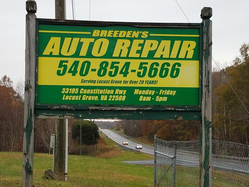 Breeden's Auto Repair: 33195 Constitution Hwy, Locust Grove, VA