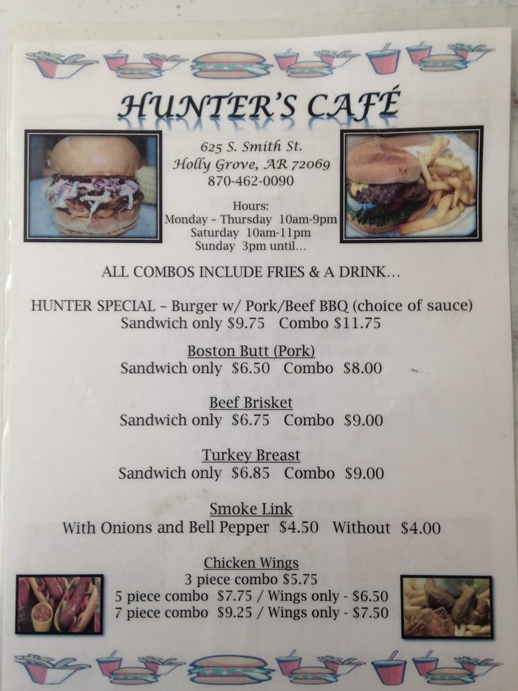 Hunter's Cafe: 625 S Smith St, Holly Grove, AR