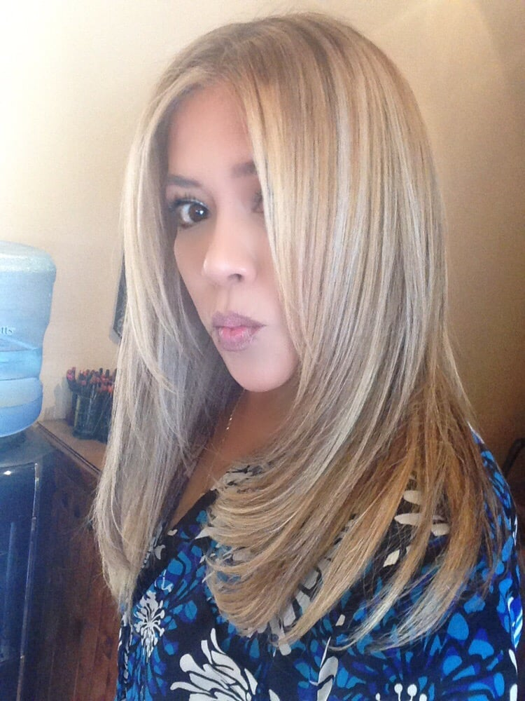 Blonde Highlights Over Ash Brown Base Color And Halo Couture