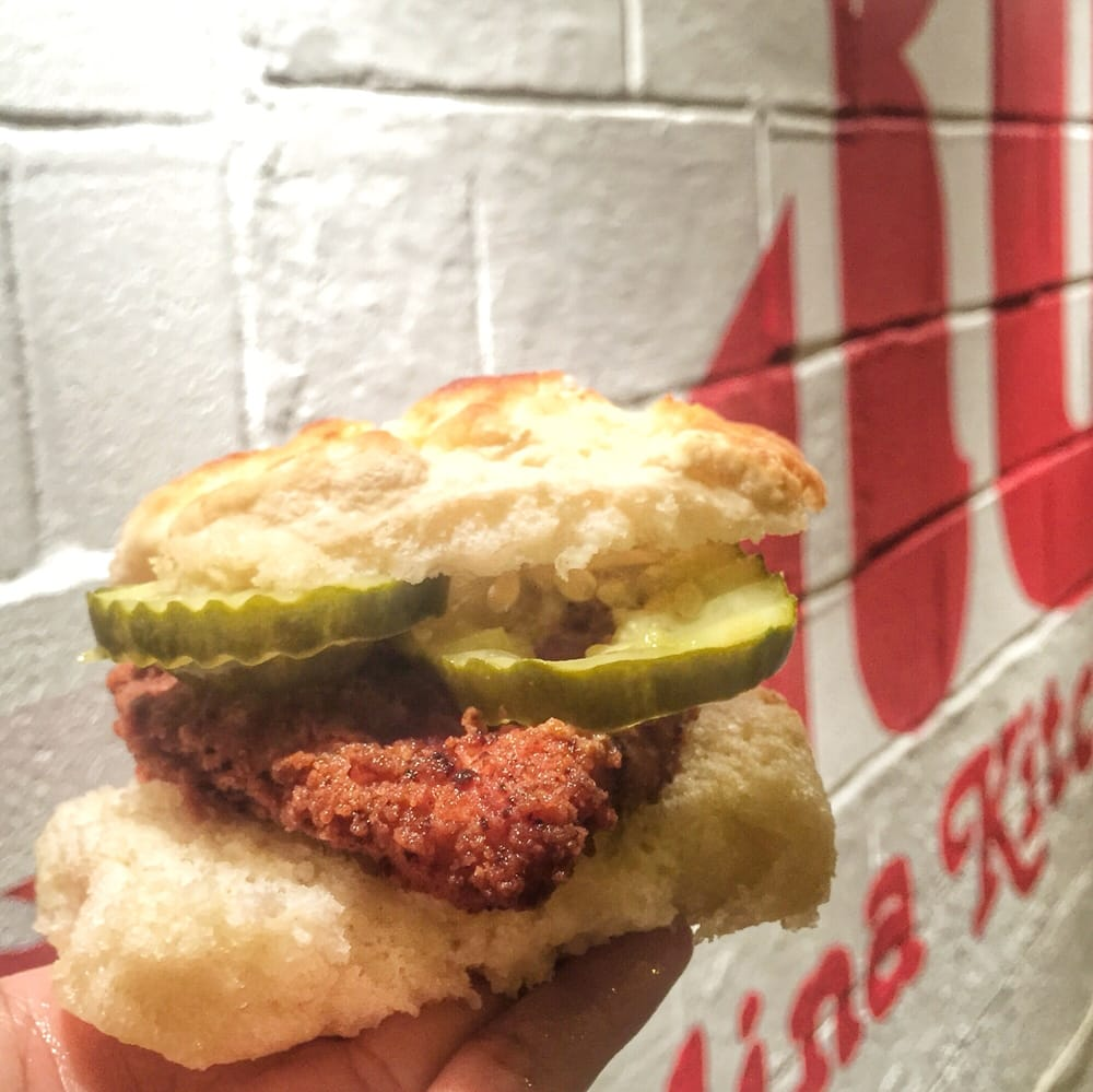 Spicy Chicken Biscuit With Just Pickles My Fave Yelp