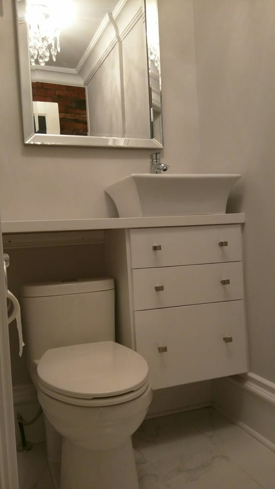 Custom vanity with vessel sink designed for very small - Very small bathroom vanity ...