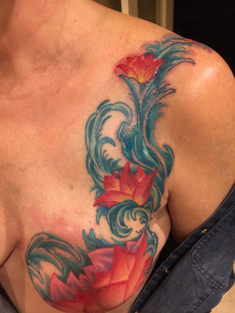 Breast surgery scars cover up on breast cancer survivor!! Great job ...