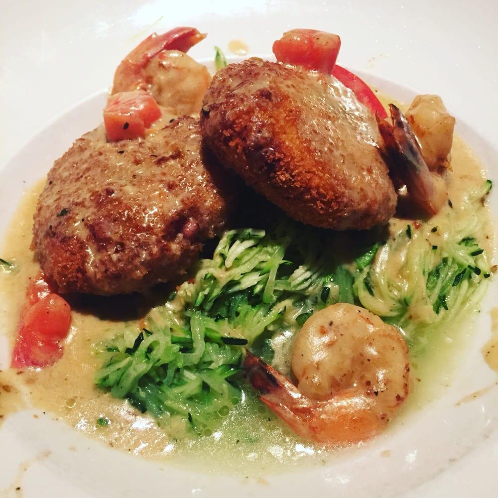 Lump Crab Cakes Gulf Shrimp And Zucchini Basil Pasta Yelp