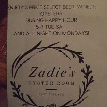 Zadies Oyster Room Menu