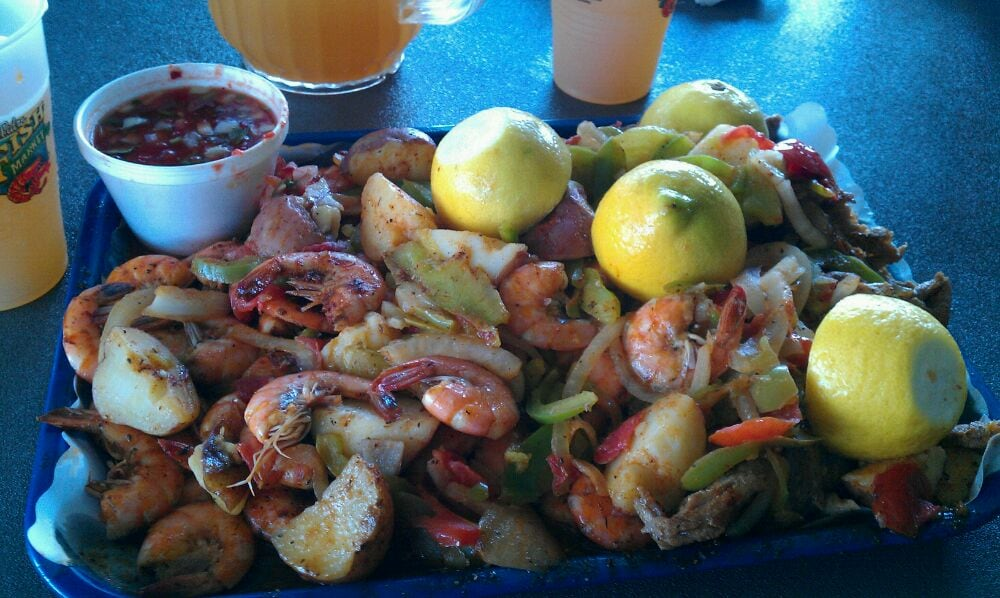 Combo tray n pitcher of blue moon yelp for Phil s fish market eatery