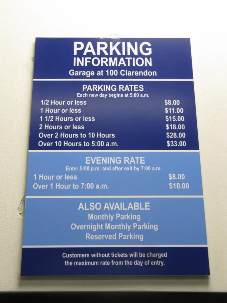 100 Clarendon Street Garage Parking 100 Clarendon St
