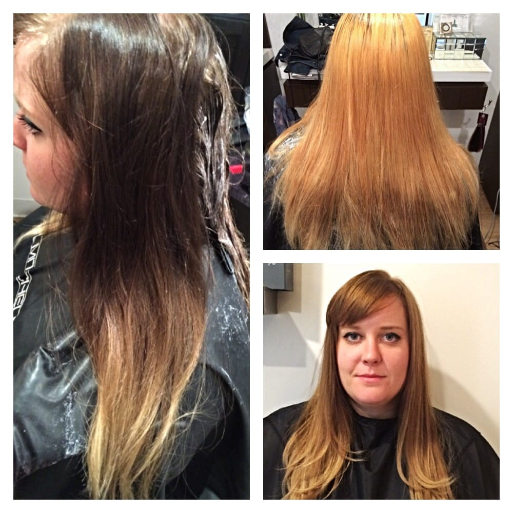 Color Correction Dark Brown Ombre Lifted To Orangeyellow Ending