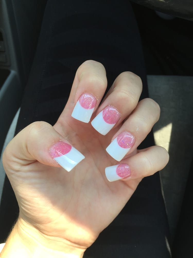 Square pink and white acrylics! Johnny did a beautiful job! There\'s ...