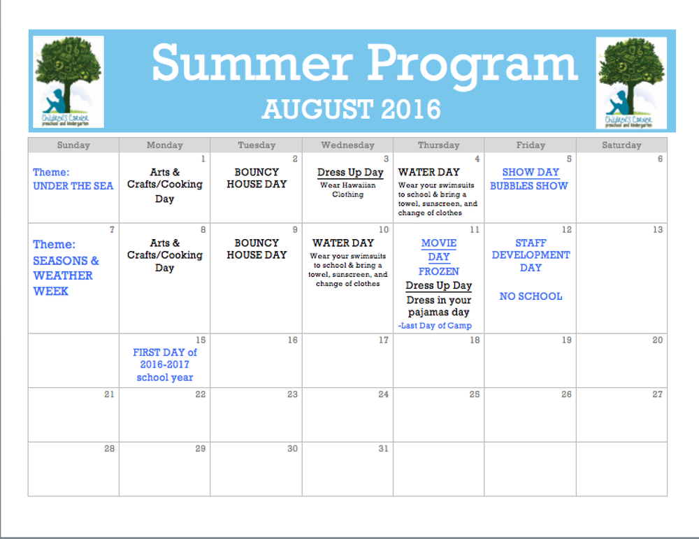 Summer Camp Schedule For August 2016 Fun Weekly Themes Yelp
