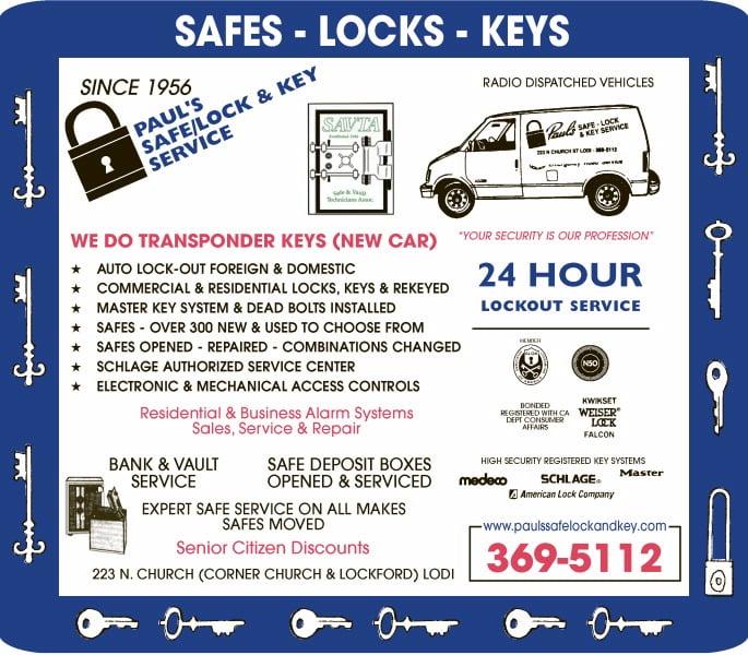 Paul's Safe Lock & Key Service: 223 N Church St, Lodi, CA