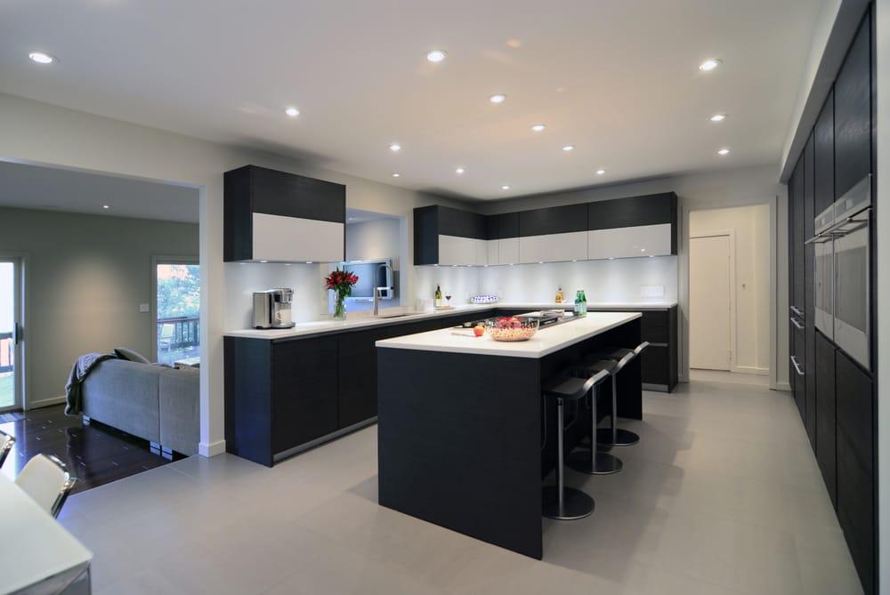 Contemporary Kitchen Large Format Porcelain Tile Dark Cabinets Quartz Top Yelp