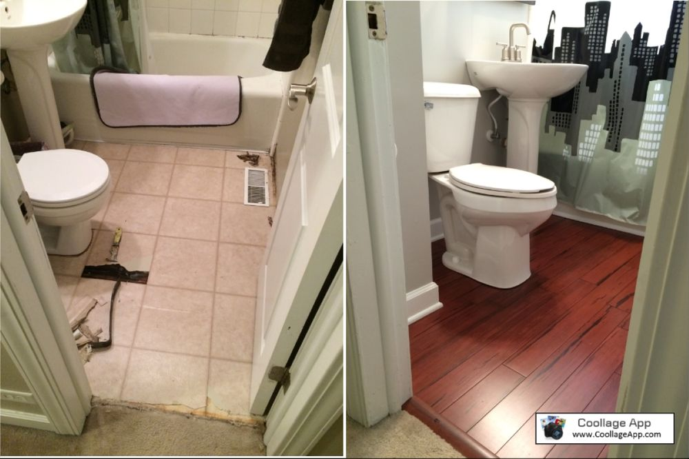 Before and after picture of a small bathroom remodel yelp for Bathroom remodel yelp