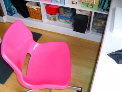 Jen\'s pink desk chair - $20-ish. - Yelp