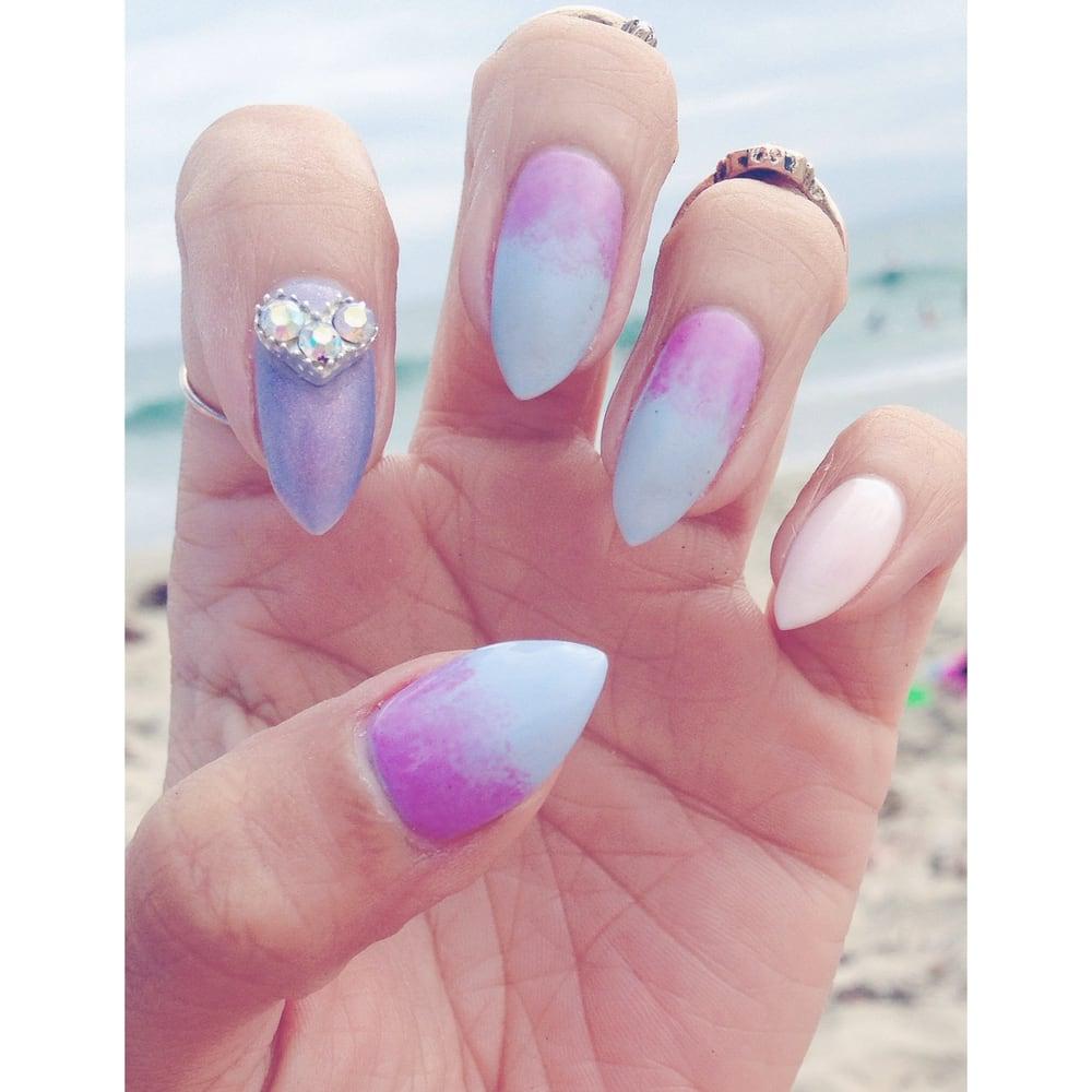 Dip-dye ombre gel nails w/ jewel by Kathy - Yelp