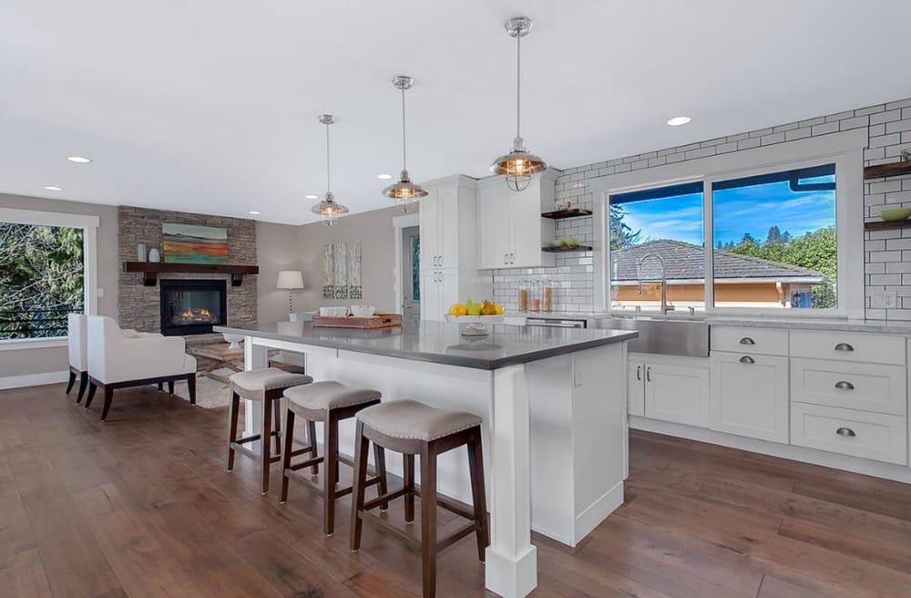 White Shaker Cabinets With Concrete Countertops In Shoreline Yelp