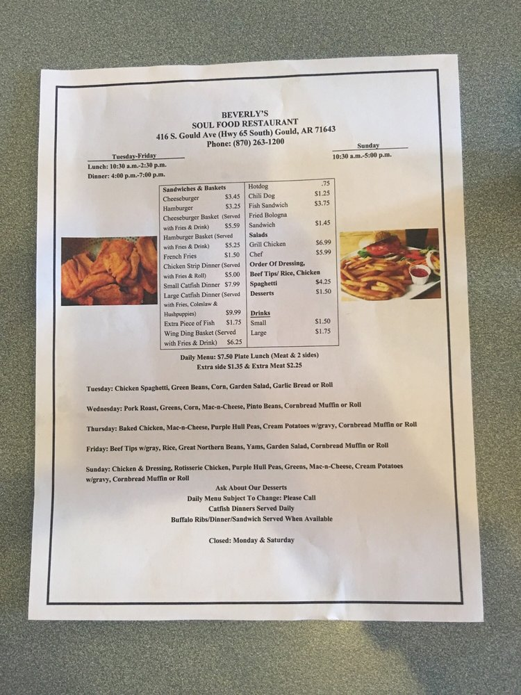 Beverly's Soul Food: 416 S Gould Ave, Gould, AR