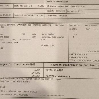 Photo Of Centennial Toyota Las Vegas Nv United States Repair Order