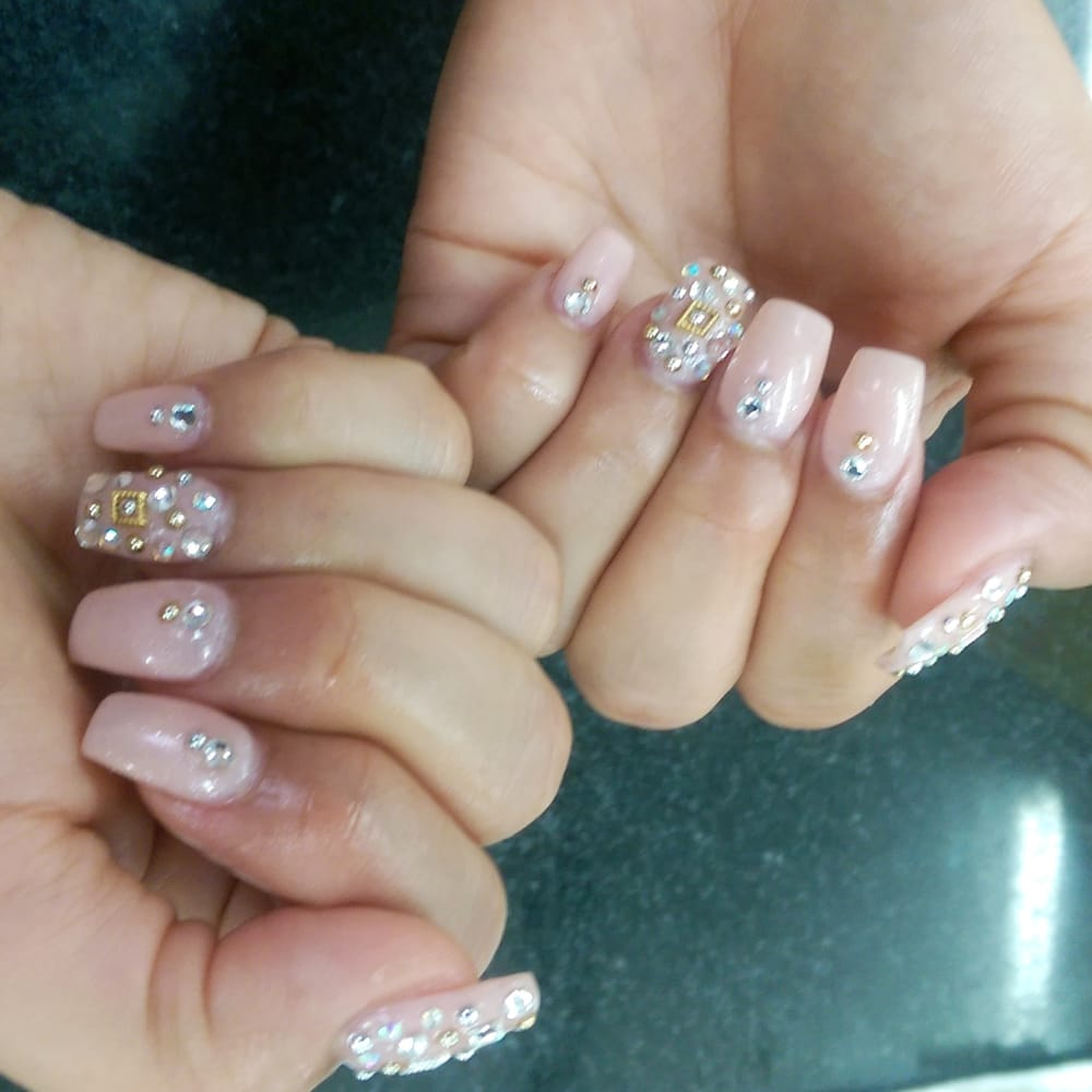 Bling out acrylic nails w/gels polish and diamonds... - Yelp