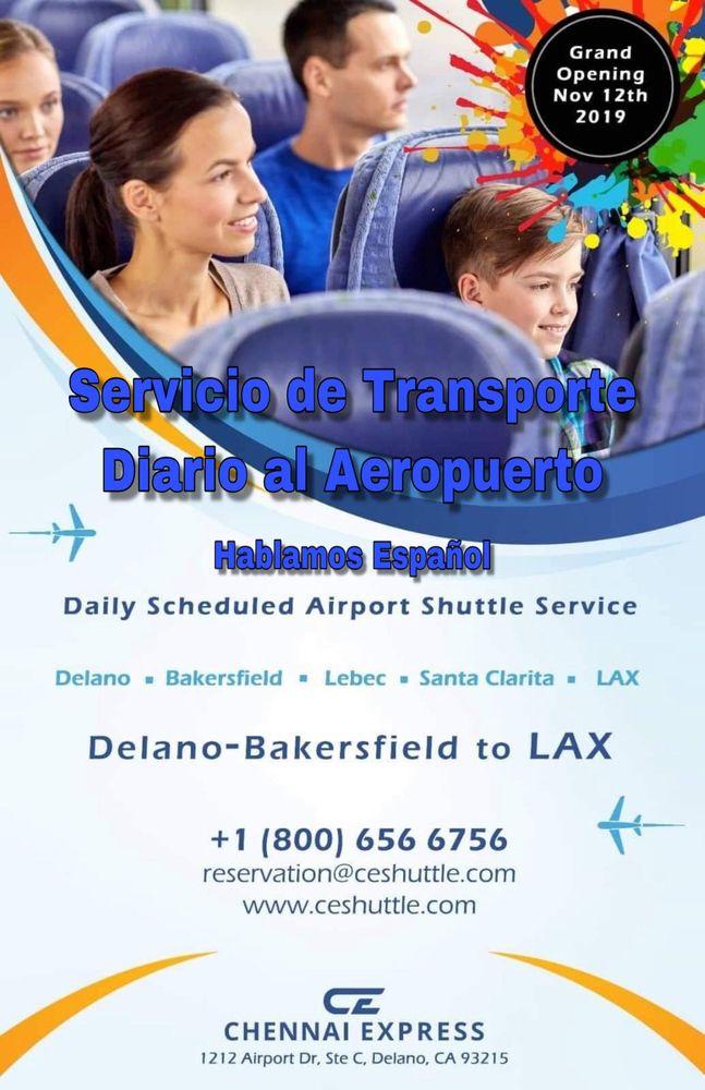 Chennai express shuttle service: 1212 Airport Drive, Delano, CA