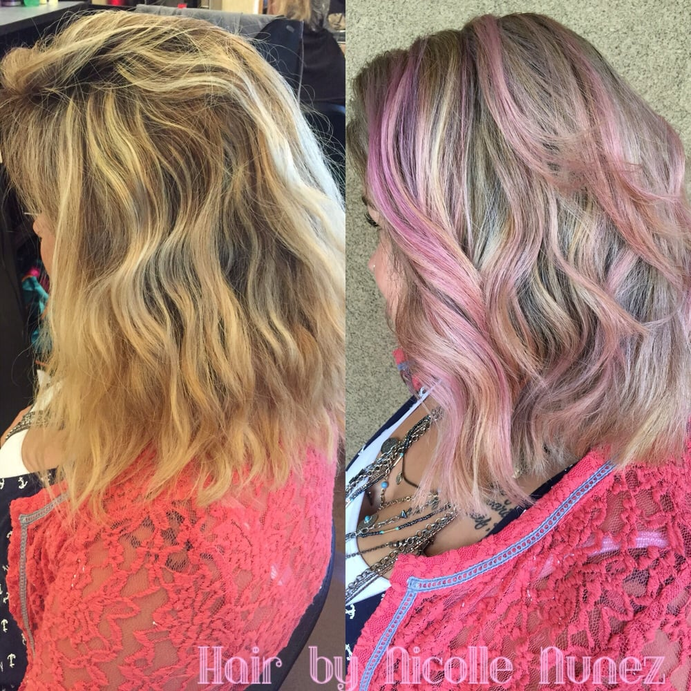 Hair By Nicolle Nunez Full Blonde Weave And Pastel Pink Added Yelp