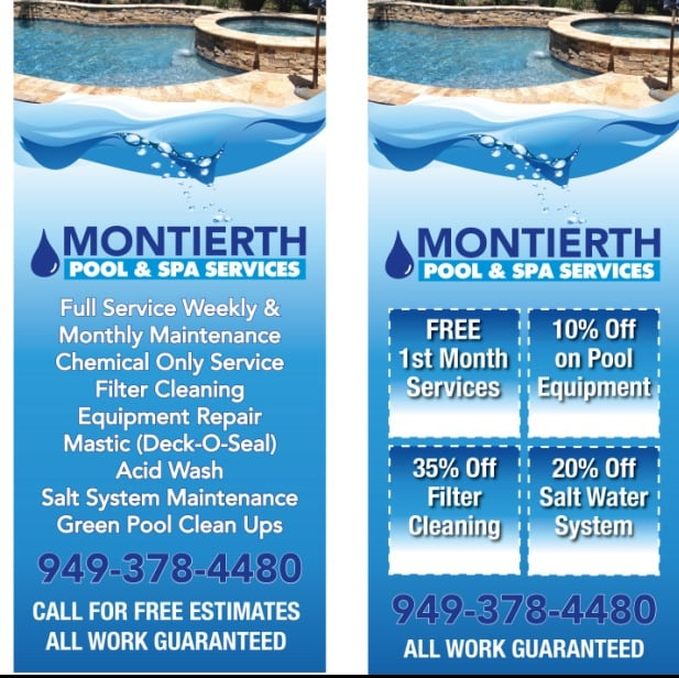 Montierth Pool & Spa Services: 26895 Aliso Creek Rd, Aliso Viejo, CA