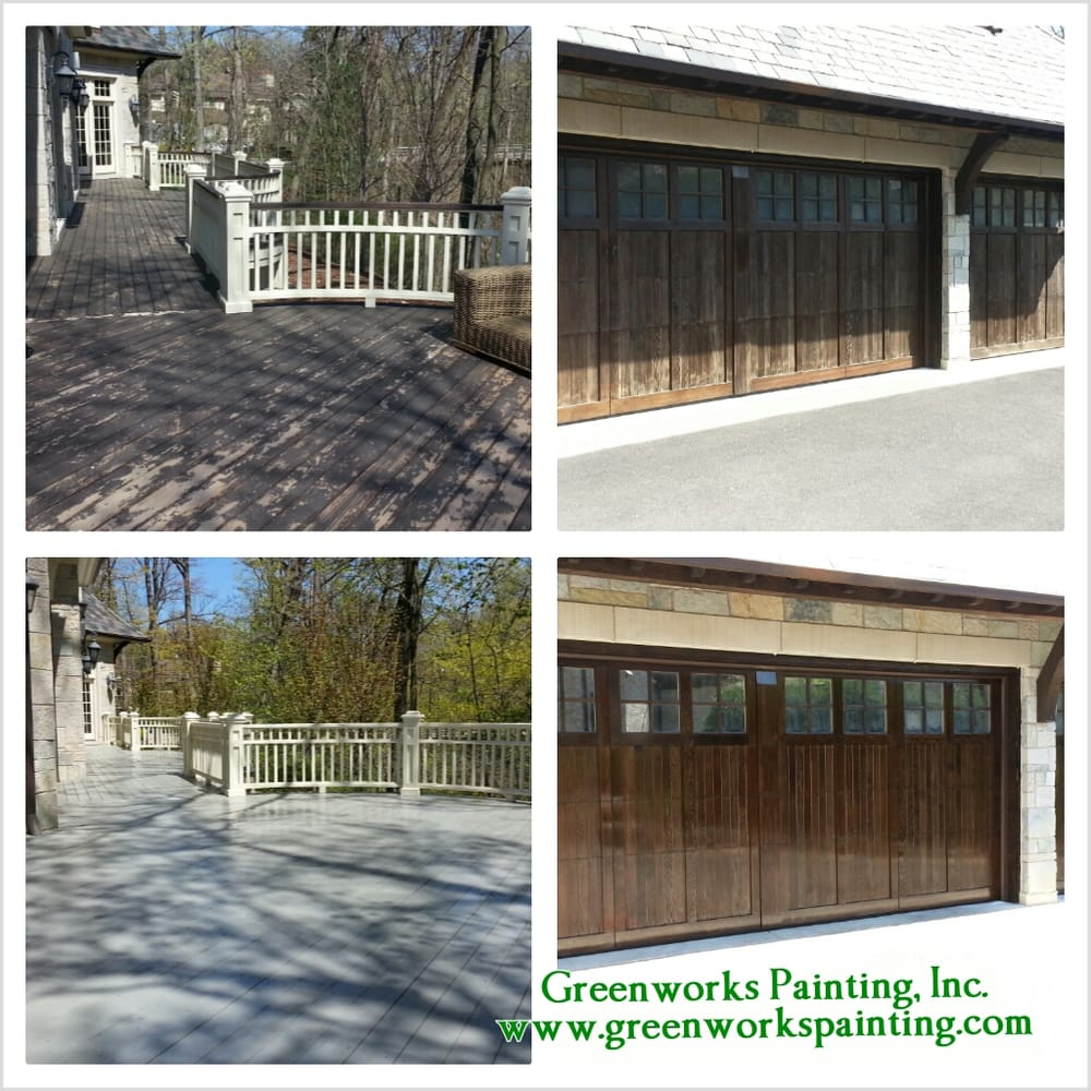 Exterior Deck Cleaning And Staining Garage Door Refinishing
