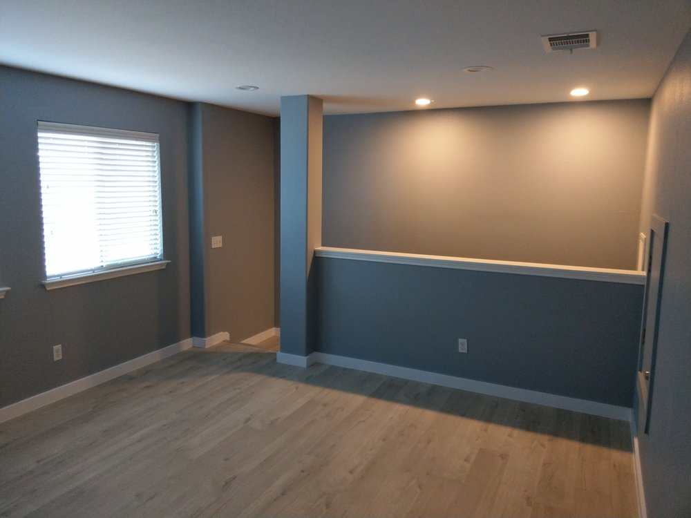 replace baseboard carpeted room