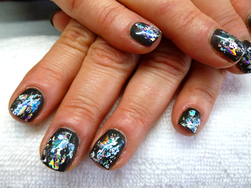 Gel polish manicure (Artistic Color Gloss) with foil nail art. - Yelp