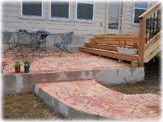 Stamp Stain Concrete Patio Walkway With Attached
