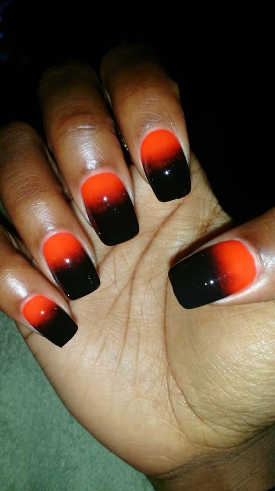 Black+orange ombre nails. - Yelp