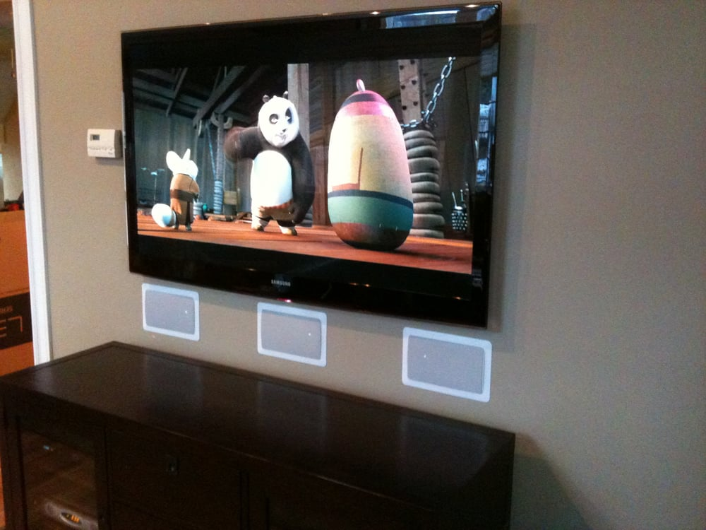 In Wall Speakers Home Theater slim led samsung tv wall mounted with flush mount in-wall speakers