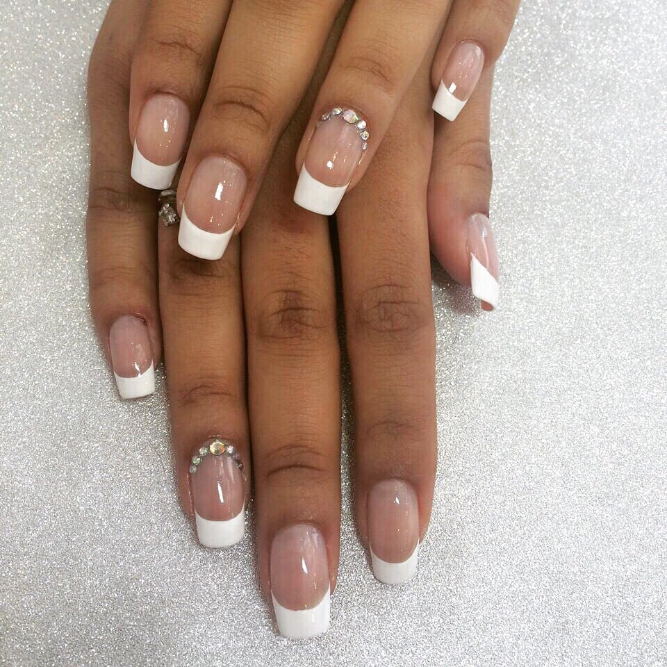 Gel nails with French design and Swarovski stones - Yelp